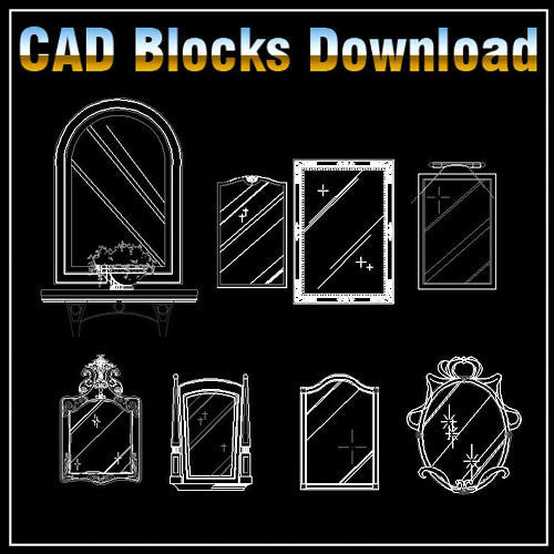 Free Mirror Blocks - CAD Design | Download CAD Drawings | AutoCAD Blocks | AutoCAD Symbols | CAD Drawings | Architecture Details│Landscape Details | See more about AutoCAD, Cad Drawing and Architecture Details