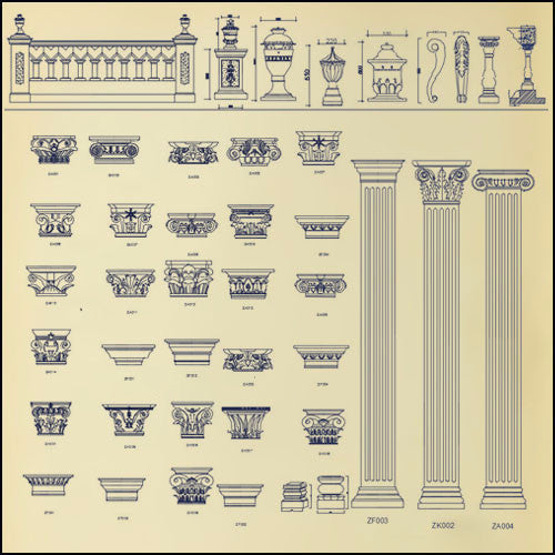 Architectural decorative elements 1 - CAD Design | Download CAD Drawings | AutoCAD Blocks | AutoCAD Symbols | CAD Drawings | Architecture Details│Landscape Details | See more about AutoCAD, Cad Drawing and Architecture Details