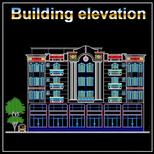 Building Elevation 1 - CAD Design | Download CAD Drawings | AutoCAD Blocks | AutoCAD Symbols | CAD Drawings | Architecture Details│Landscape Details | See more about AutoCAD, Cad Drawing and Architecture Details