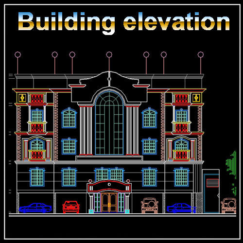 Building Elevation 2 - CAD Design | Free CAD blocks and drawings