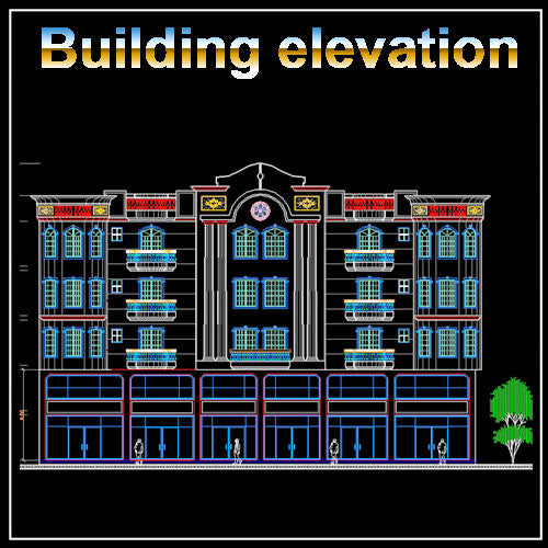 Building Elevation 3 - CAD Design | Download CAD Drawings | AutoCAD Blocks | AutoCAD Symbols | CAD Drawings | Architecture Details│Landscape Details | See more about AutoCAD, Cad Drawing and Architecture Details