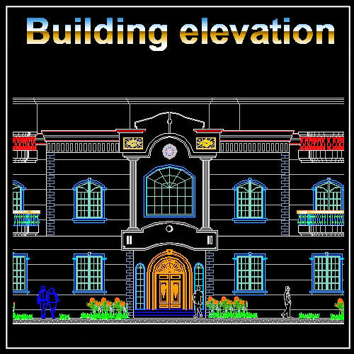 Building Elevation 4 - CAD Design | Download CAD Drawings | AutoCAD Blocks | AutoCAD Symbols | CAD Drawings | Architecture Details│Landscape Details | See more about AutoCAD, Cad Drawing and Architecture Details