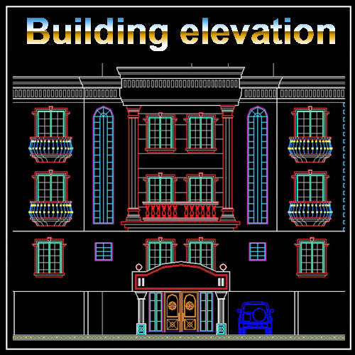 Building Elevation 7 - CAD Design | Download CAD Drawings | AutoCAD Blocks | AutoCAD Symbols | CAD Drawings | Architecture Details│Landscape Details | See more about AutoCAD, Cad Drawing and Architecture Details