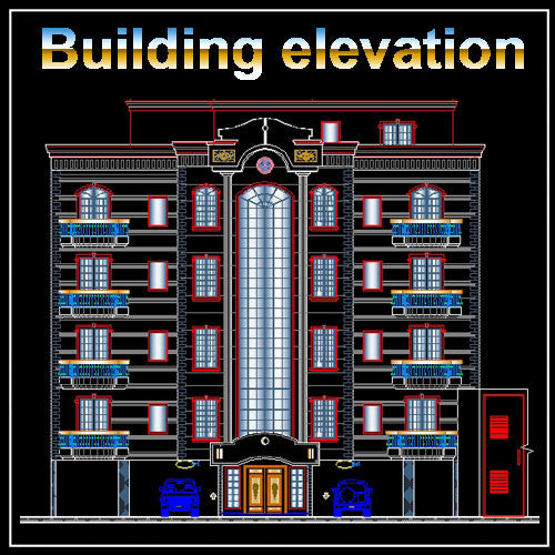 Building Elevation 8 - CAD Design | Download CAD Drawings | AutoCAD Blocks | AutoCAD Symbols | CAD Drawings | Architecture Details│Landscape Details | See more about AutoCAD, Cad Drawing and Architecture Details