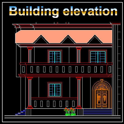 Building Elevation 9 - CAD Design | Download CAD Drawings | AutoCAD Blocks | AutoCAD Symbols | CAD Drawings | Architecture Details│Landscape Details | See more about AutoCAD, Cad Drawing and Architecture Details