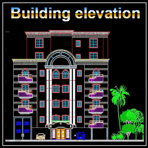 Building Elevation 11 - CAD Design | Download CAD Drawings | AutoCAD Blocks | AutoCAD Symbols | CAD Drawings | Architecture Details│Landscape Details | See more about AutoCAD, Cad Drawing and Architecture Details