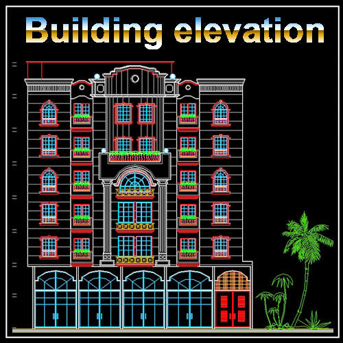 Building Elevation 13 - CAD Design | Download CAD Drawings | AutoCAD Blocks | AutoCAD Symbols | CAD Drawings | Architecture Details│Landscape Details | See more about AutoCAD, Cad Drawing and Architecture Details