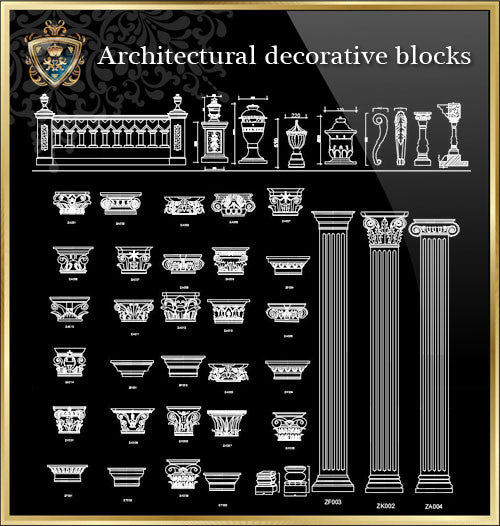 Royal Architecture Decorative Blocks - CAD Design | Download CAD Drawings | AutoCAD Blocks | AutoCAD Symbols | CAD Drawings | Architecture Details│Landscape Details | See more about AutoCAD, Cad Drawing and Architecture Details