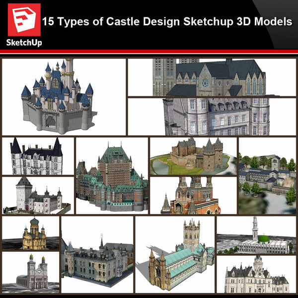 💎【Sketchup Architecture 3D Projects】15 Types of Castle Design Sketchup 3D Models V2 - CAD Design | Download CAD Drawings | AutoCAD Blocks | AutoCAD Symbols | CAD Drawings | Architecture Details│Landscape Details | See more about AutoCAD, Cad Drawing and Architecture Details