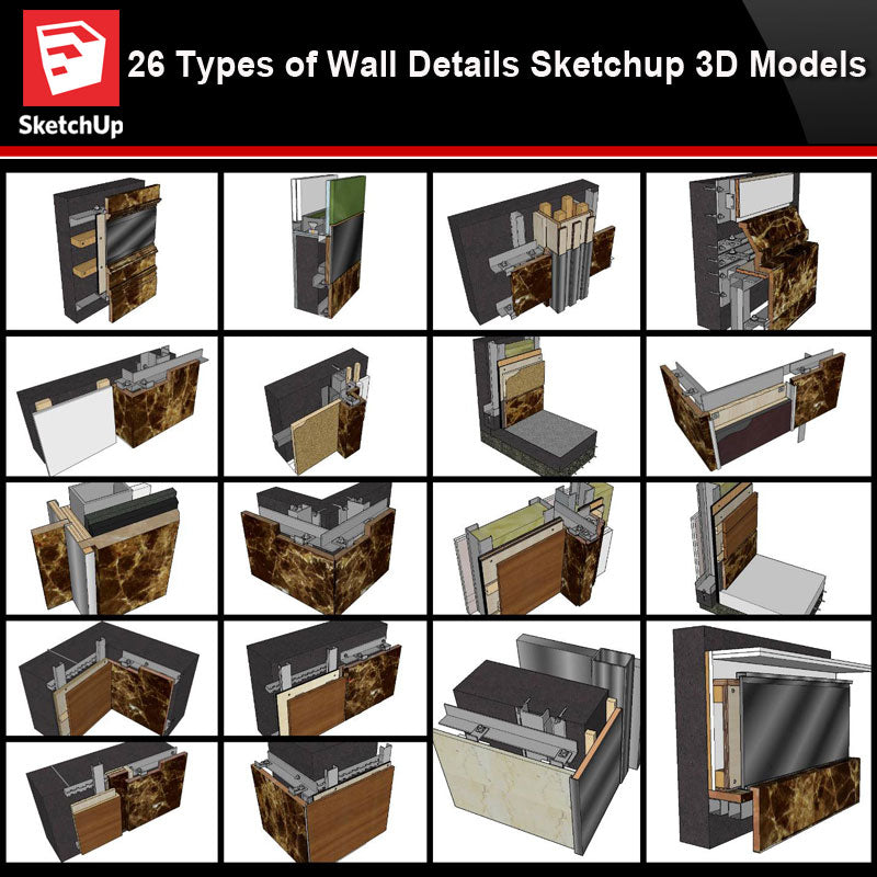💎【Best 26 Types Wall Details Sketchup 3D Detail Models】Sketchup Wall Details