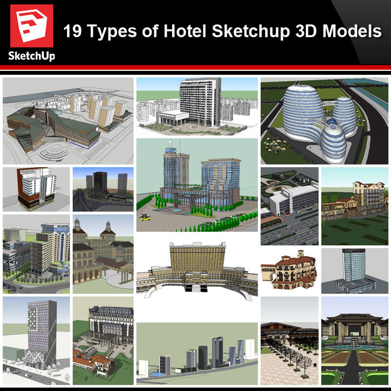 💎【Sketchup Architecture 3D Projects】19 Types of Hotel Sketchup 3D Models