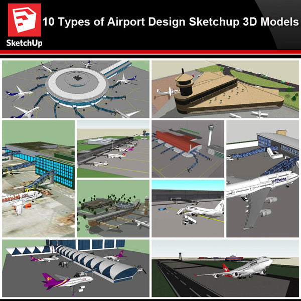 💎【Sketchup Architecture 3D Projects】10 Types of Airport Design Sketchup 3D Models V2 - CAD Design | Download CAD Drawings | AutoCAD Blocks | AutoCAD Symbols | CAD Drawings | Architecture Details│Landscape Details | See more about AutoCAD, Cad Drawing and Architecture Details