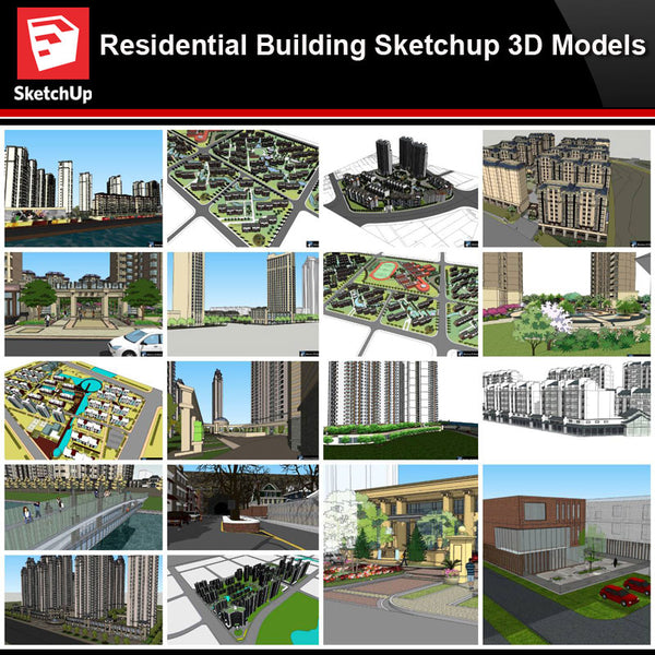 💎【Sketchup Architecture 3D Projects】Residential Building Landscape Sketchup Model V1