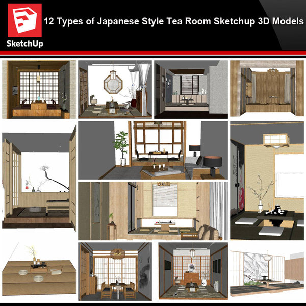 💎【Sketchup Architecture 3D Projects】12 Types of Japanese style tea room Sketchup 3D Models - CAD Design | Download CAD Drawings | AutoCAD Blocks | AutoCAD Symbols | CAD Drawings | Architecture Details│Landscape Details | See more about AutoCAD, Cad Drawing and Architecture Details