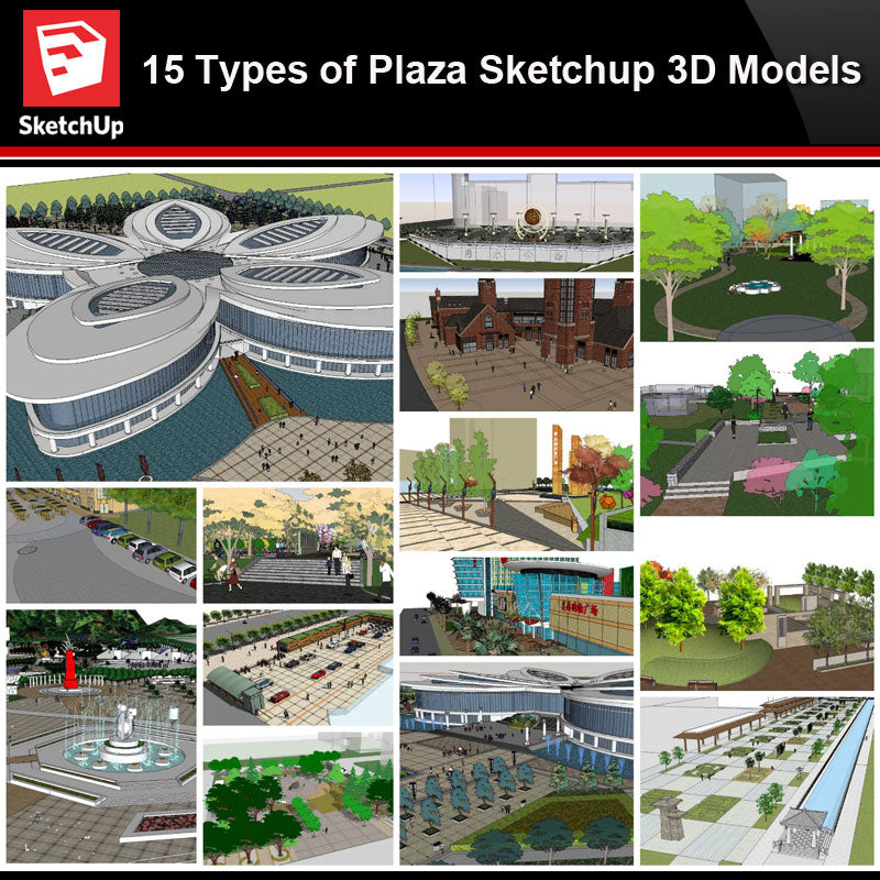 💎【Sketchup Architecture 3D Projects】15 Types of Plaza Landscape Sketchup Model V1