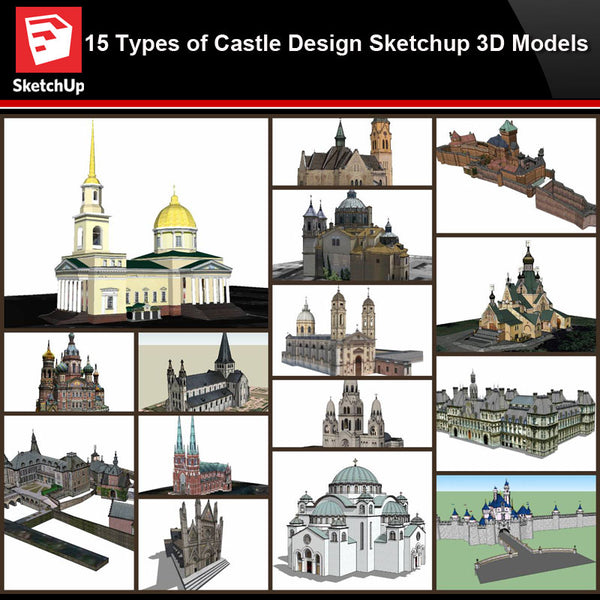 💎【Sketchup Architecture 3D Projects】15 Types of Castle Design Sketchup 3D Models V3 - CAD Design | Download CAD Drawings | AutoCAD Blocks | AutoCAD Symbols | CAD Drawings | Architecture Details│Landscape Details | See more about AutoCAD, Cad Drawing and Architecture Details