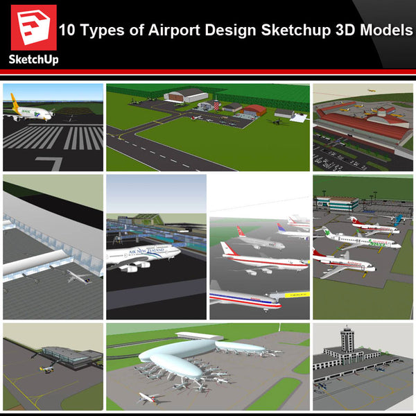 💎【Sketchup Architecture 3D Projects】10 Types of Airport Design Sketchup 3D Models V1 - CAD Design | Download CAD Drawings | AutoCAD Blocks | AutoCAD Symbols | CAD Drawings | Architecture Details│Landscape Details | See more about AutoCAD, Cad Drawing and Architecture Details