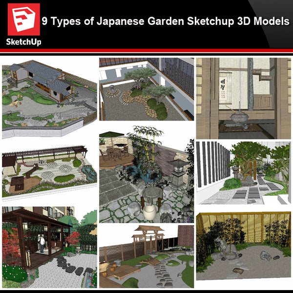 💎【Sketchup Architecture 3D Projects】9 Types of Japanese Garden Sketchup 3D Models - CAD Design | Download CAD Drawings | AutoCAD Blocks | AutoCAD Symbols | CAD Drawings | Architecture Details│Landscape Details | See more about AutoCAD, Cad Drawing and Architecture Details
