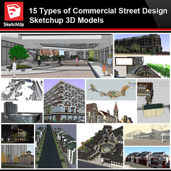 💎【Sketchup Architecture 3D Projects】15 Types of Commercial Street Design Sketchup Model V5