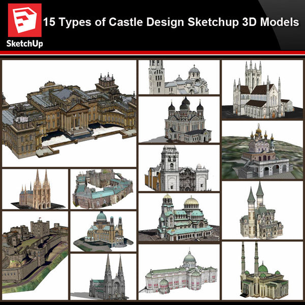 💎【Sketchup Architecture 3D Projects】15 Types of Castle Design Sketchup 3D Models V1 - CAD Design | Download CAD Drawings | AutoCAD Blocks | AutoCAD Symbols | CAD Drawings | Architecture Details│Landscape Details | See more about AutoCAD, Cad Drawing and Architecture Details