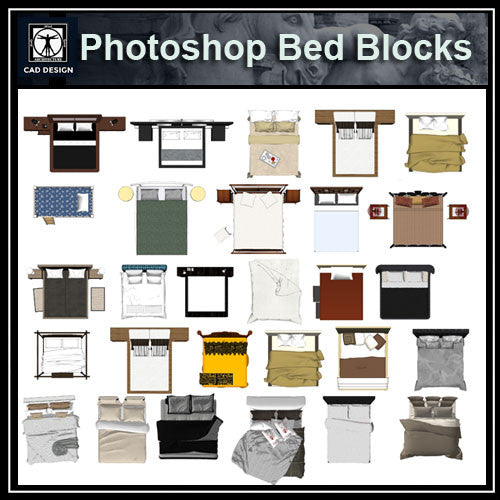 Photoshop PSD Bed Blocks 1 - CAD Design | Download CAD Drawings | AutoCAD Blocks | AutoCAD Symbols | CAD Drawings | Architecture Details│Landscape Details | See more about AutoCAD, Cad Drawing and Architecture Details