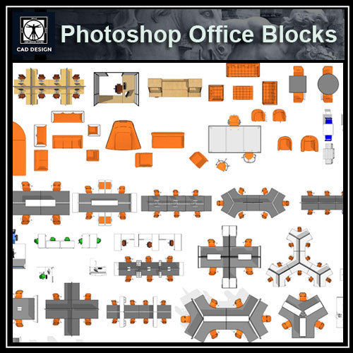 Photoshop PSD Office Blocks - CAD Design | Download CAD Drawings | AutoCAD Blocks | AutoCAD Symbols | CAD Drawings | Architecture Details│Landscape Details | See more about AutoCAD, Cad Drawing and Architecture Details