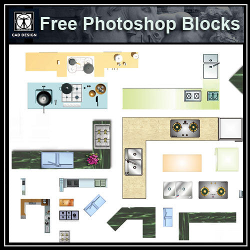 Free Photoshop PSD Kitchen Blocks CAD Design