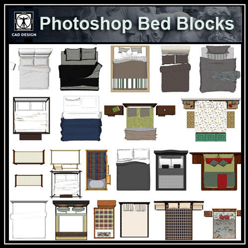 Photoshop psd bed blocks 2 cad design free cad blocks for Bed elevation blocks