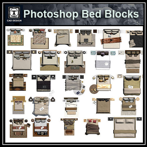 Photoshop PSD Bed Blocks 3 - CAD Design | Download CAD Drawings | AutoCAD Blocks | AutoCAD Symbols | CAD Drawings | Architecture Details│Landscape Details | See more about AutoCAD, Cad Drawing and Architecture Details