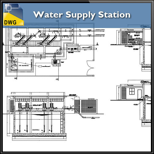 Water Supply Station - CAD Design | Download CAD Drawings | AutoCAD Blocks | AutoCAD Symbols | CAD Drawings | Architecture Details│Landscape Details | See more about AutoCAD, Cad Drawing and Architecture Details