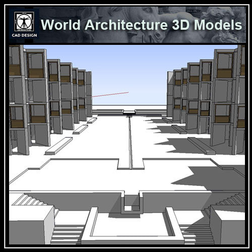 Sketchup 3D Architecture models- Salk Institute (Louis Kahn ) - CAD Design | Download CAD Drawings | AutoCAD Blocks | AutoCAD Symbols | CAD Drawings | Architecture Details│Landscape Details | See more about AutoCAD, Cad Drawing and Architecture Details