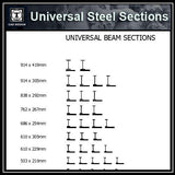 Free CAD Details-Universal Steel Sections 1 - CAD Design | Download CAD Drawings | AutoCAD Blocks | AutoCAD Symbols | CAD Drawings | Architecture Details│Landscape Details | See more about AutoCAD, Cad Drawing and Architecture Details