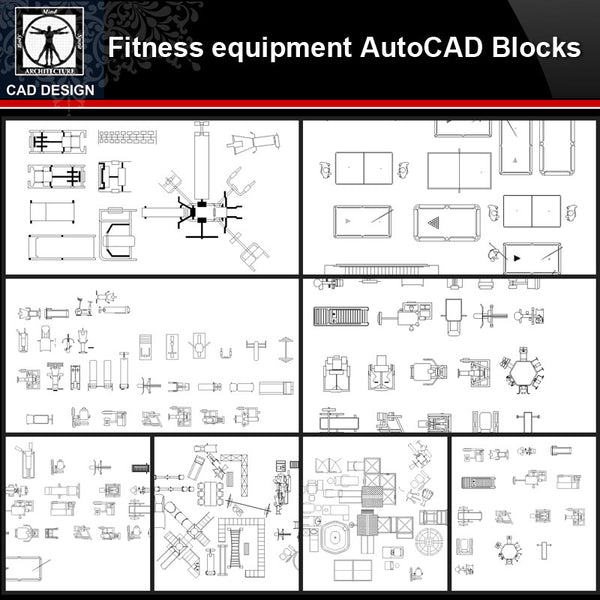 ★【Fitness equipment Autocad Blocks Collections】All kinds of Fitness equipment CAD Blocks