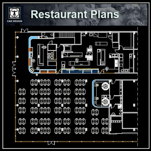 Restaurant blocks and plans cad design free