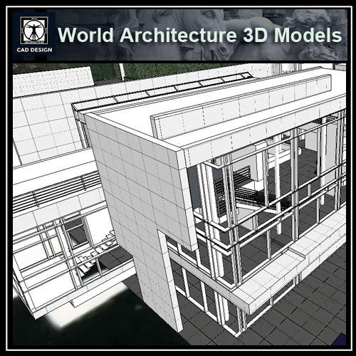 Sketchup 3D Architecture models-  3D House Rachovfsky -Richard Meier - CAD Design | Download CAD Drawings | AutoCAD Blocks | AutoCAD Symbols | CAD Drawings | Architecture Details│Landscape Details | See more about AutoCAD, Cad Drawing and Architecture Details