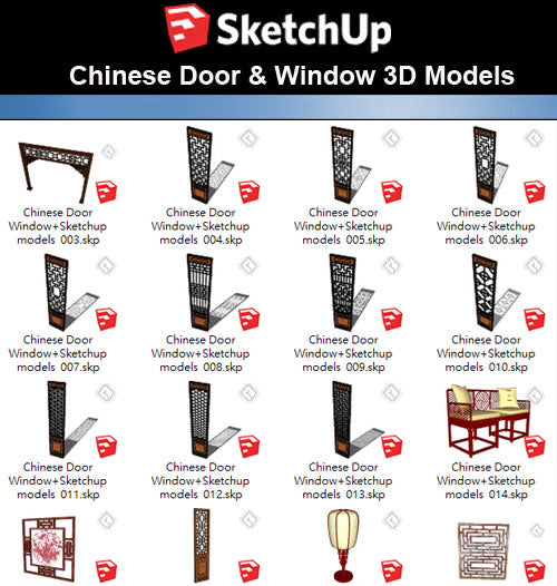 【Sketchup 3D Models】26 Types of Chinese Door & Windows  Sketchup models V.1