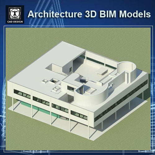 Architecture BIM 3D Models-Villa Savoye - CAD Design | Download CAD Drawings | AutoCAD Blocks | AutoCAD Symbols | CAD Drawings | Architecture Details│Landscape Details | See more about AutoCAD, Cad Drawing and Architecture Details