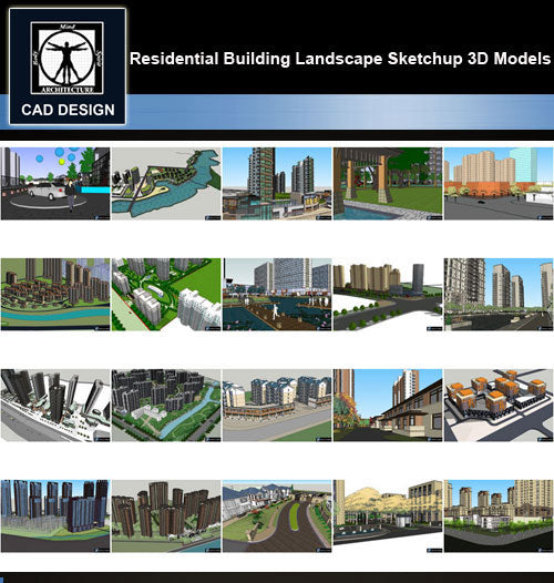 【Sketchup 3D Models】20 Types of Residential Building Landscape Sketchup 3D Models  V.2 - CAD Design | Download CAD Drawings | AutoCAD Blocks | AutoCAD Symbols | CAD Drawings | Architecture Details│Landscape Details | See more about AutoCAD, Cad Drawing and Architecture Details