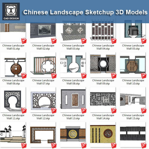 Chinese Landscape Wall Design-Sketchup Models(Best Recommanded!!)