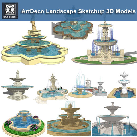 ●European Fountain and Waterfall Sketchup 3D Models