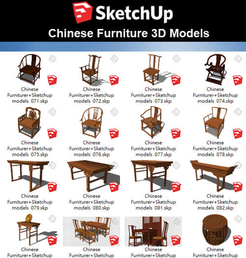 【Sketchup 3D Models】55 Types of Chinese Furniturer Design Sketchup models V.2