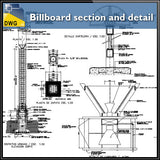 Billboard section and detail in autocad dwg files - CAD Design | Download CAD Drawings | AutoCAD Blocks | AutoCAD Symbols | CAD Drawings | Architecture Details│Landscape Details | See more about AutoCAD, Cad Drawing and Architecture Details