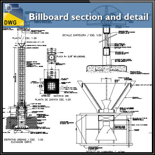 Billboard section and detail in autocad dwg files