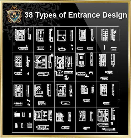 38 Types of Entrance Design - CAD Design | Download CAD Drawings | AutoCAD Blocks | AutoCAD Symbols | CAD Drawings | Architecture Details│Landscape Details | See more about AutoCAD, Cad Drawing and Architecture Details