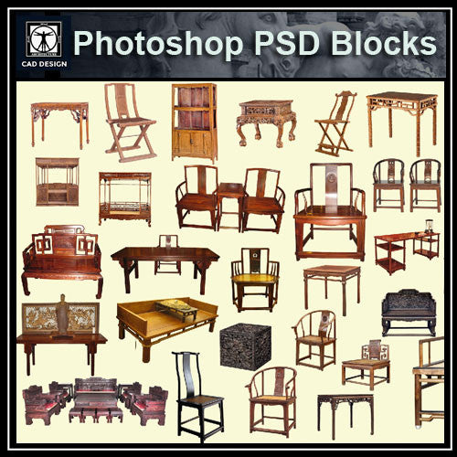 Photoshop PSD Chinese  Chair Blocks
