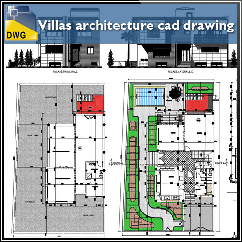 Villas architecture cad drawing and detail - CAD Design | Download CAD Drawings | AutoCAD Blocks | AutoCAD Symbols | CAD Drawings | Architecture Details│Landscape Details | See more about AutoCAD, Cad Drawing and Architecture Details