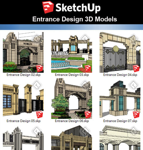 【Sketchup 3D Models】10 Types of European Entrance & Door 3D Models V.1