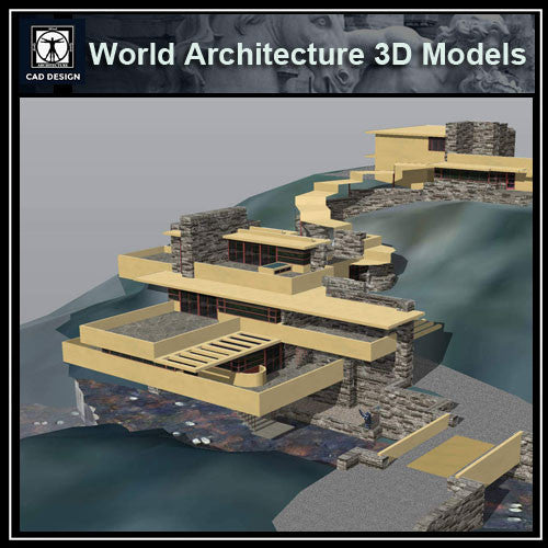 Sketchup 3D Architecture models-Falling Water(Frank Lloyd Wright) - CAD Design | Download CAD Drawings | AutoCAD Blocks | AutoCAD Symbols | CAD Drawings | Architecture Details│Landscape Details | See more about AutoCAD, Cad Drawing and Architecture Details