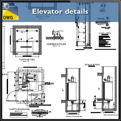 Elevator Details - CAD Design | Download CAD Drawings | AutoCAD Blocks | AutoCAD Symbols | CAD Drawings | Architecture Details│Landscape Details | See more about AutoCAD, Cad Drawing and Architecture Details
