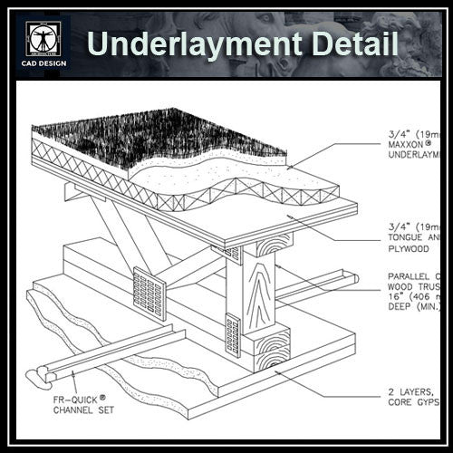 Free CAD Details- Underlayment Detail - CAD Design | Download CAD Drawings | AutoCAD Blocks | AutoCAD Symbols | CAD Drawings | Architecture Details│Landscape Details | See more about AutoCAD, Cad Drawing and Architecture Details